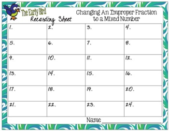 The Early Bird Task Cards for Changing an Improper Fraction to a Mixed Number