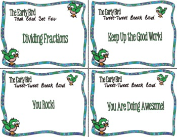 The Early Bird Task Cards for Dividing Fractions