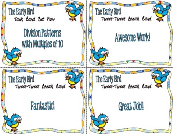 The Early Bird Task Cards for Division Patterns with Multiples of Ten