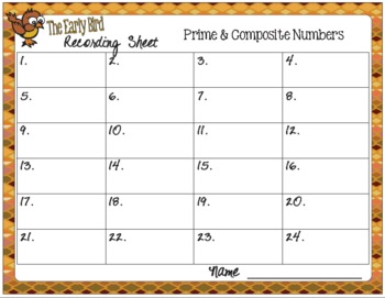 The Early Bird Task Cards for Identifying Prime and Composite Numbers