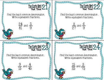 The Early Bird Task Cards for Least Common Denominator & Equivalent Fractions