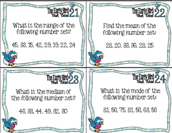 The Early Bird Task Cards for Mean, Median, Mode & Range