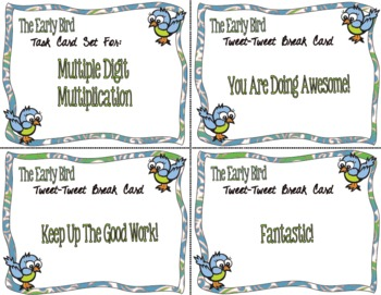 The Early Bird Task Cards for Multiple Digit Multiplication