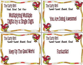 The Early Bird Task Cards for Multiplying a Multiple Digit by a Single Digit