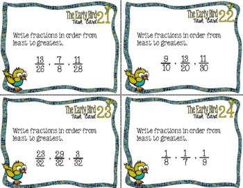 The Early Bird Task Cards for Ordering Fractions from Least to Greatest