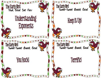 The Early Bird Task Cards for Understanding Exponents