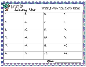 The Early Bird Task Cards for Writing Numerical Expressions