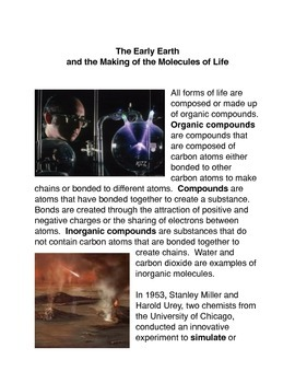 The Early Earth and the Making of the Molecules of Life Common Core activities i