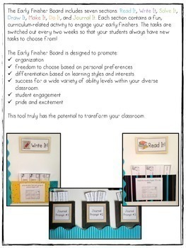 The Early Finisher Board™ Combo Pack {Grades 1 and 2-4 versions}