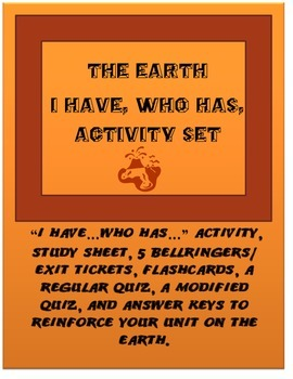 "Plate Tectonics & The Earth ""I Have...Who Has..."" Activity Set"
