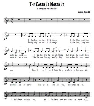"""""""The Earth Is Worth It"""" Earth Day song for 2nd-5th w/ pop background track"""