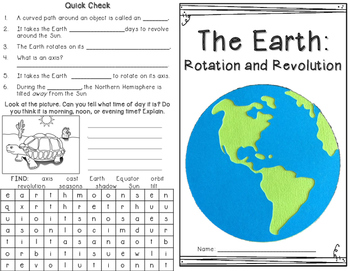 Seasons: Earth Rotation and Revolution Minibook and foldables
