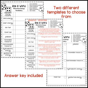 The Earth, Sun, & Moon Fun Interactive Vocabulary Dice Activity EDITABLE