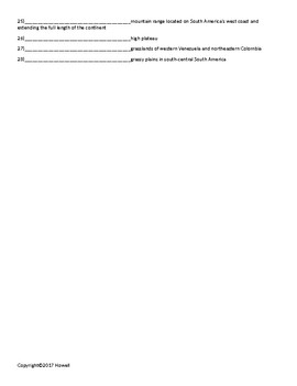 Latin America Quiz or Worksheet for Middle School Geography