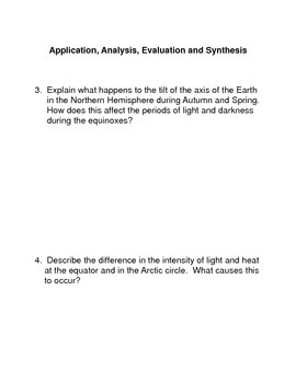 The Earth and Its Seasons Common Core Activities