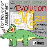 The Earth's History and Evolution Maze Worksheet for Review or Assessment
