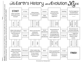 the earth 39 s history and evolution maze worksheet for review or assessment. Black Bedroom Furniture Sets. Home Design Ideas