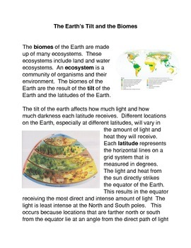 The Earth's Tilt and the Biomes Common Core Activities