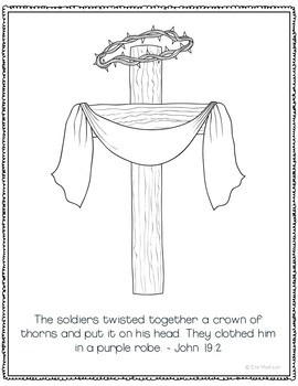 The Easter Story Coloring Page Craft or Posters, Bible Verse, Sunday School