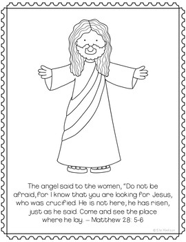 Easter Coloring Pages Craft or Posters, Christian Sunday School Decorations