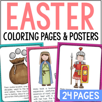 the easter story posters and coloring pages set bible verses sunday school