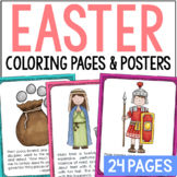 The Easter Story Posters and Coloring Pages Set, Bible Verses, Sunday School