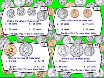Common Core-The Easy Way To Learn About Coins Task Cards