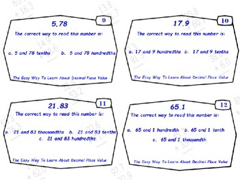 Common Core-The Easy Way To Learn About Decimal Place Value Task Cards
