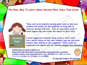 Common Core-The Easy Way To Learn About Decimal Place Valu