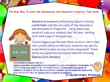 Common Core-The Easy Way To Learn The Associative &  Communative Laws Task Cards