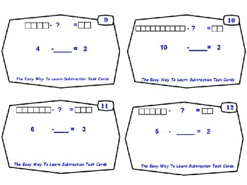 Common Core-The Easy Way To Learn Subtraction As An Unknown Addend Task Cards