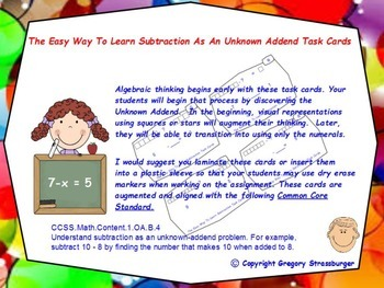 Common Core-The Easy Way To Learn Subtraction As An Unknow