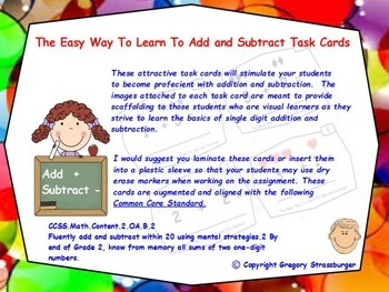 Common Core-The Easy Way To Learn To Add and Subtract Task Cards