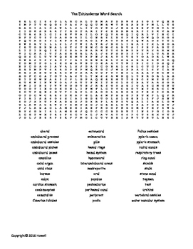 The Echinoderms Vocabulary Word Search for Invertebrate Biology
