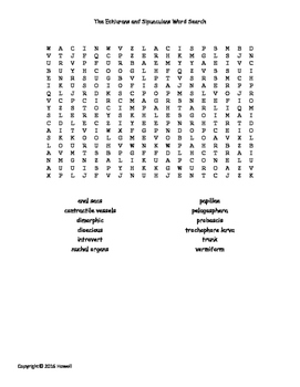 The Echiurans and Sipunculans Vocabulary Word Search for Invertebrate Biology