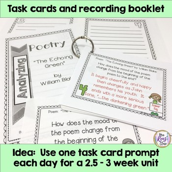 Poetry Task Cards The Echoing Green by William Blake Poetry Analysis