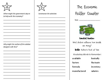 The Economic Roller Coaster Trifold - Wonders 6th Grade Unit 1 Week 5