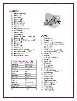 The Egypt Game—50-word Prereading Crossword