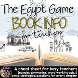 The Egypt Game Book Info Guide: Summaries,Vocab, & Strateg