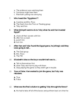 The Egypt Game Ch. 11-15 Quiz/test