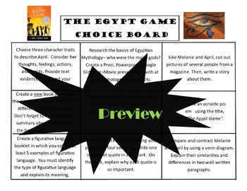 The Egypt Game Choice Board Novel Study Activities Menu Assessment Project