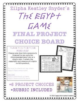 The Egypt Game Final Project *Choice Board*