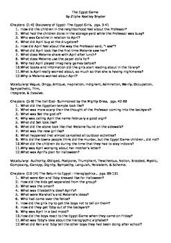 The Egypt Game Guided Reading Questions