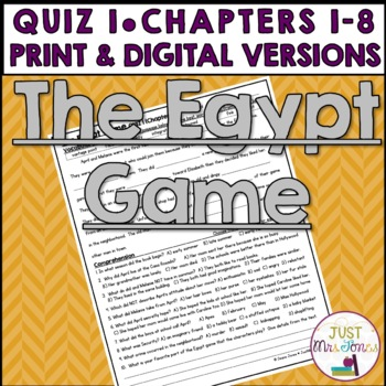 The Egypt Game Quiz 1 (Ch. 1-8)