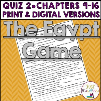 The Egypt Game Quiz 2 (Ch. 9-16)