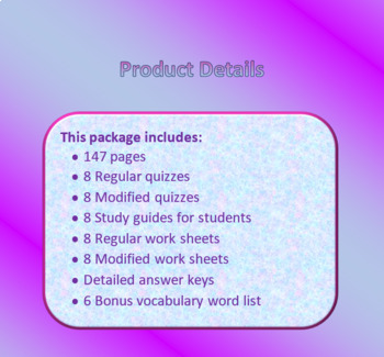 The Egypt Game Vocabulary Quizzes for Sixth Grade
