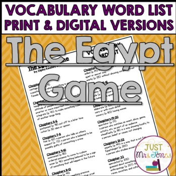 The Egypt Game Vocabulary Word List