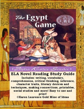 The Egypt Game by Zilpha Keatley Snyder ELA Novel Study Guide Teaching Unit