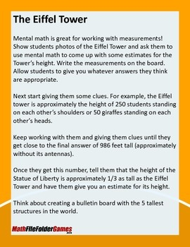 The Eiffel Tower {Mental Math Activity}