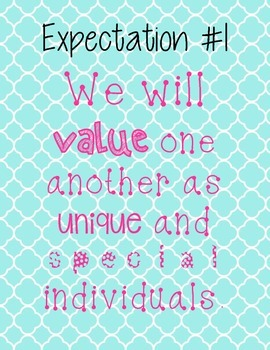 The Eight Expectations- Quatrefoil and Hot Pink